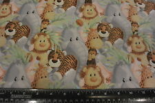 Jungle Baby Tropical Baby Jungle Animal Faces Allover Cotton Fabric BTY