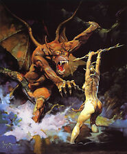 """Authentic Frank Frazetta Print """"Beauty And The Beast"""" #148 18 X 22"""