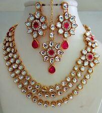 Indian Traditional Fashion Gold Tone Kundan Bridal & Wedding Party Jewelry Set