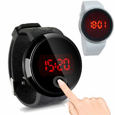 Fashion Men Touch Screen Stainless Steel Silicone LED Digital Sport Wrist Watch