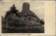 Feldpostkarte 1918 Feldpost-AK 6. Armee Zerschossene Kirche Marny 1. Weltkrieg