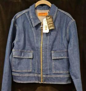 Rare Superdry Zip Denim Jacket ~ Brand New ~ Indigo ~ 14 L