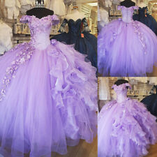 Off Shoulder Lavender Tulle Quinceanera Dresses Flower Beaded Sweet 16 Ball Gown