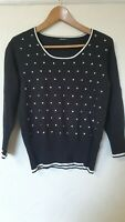 Roman Polka Dot Embroidered Jumper Top Size 12