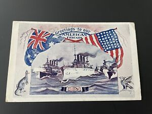 GREAT WHITE FLEET ~ GREETINGS TO OUR AMERICAN FRIENDS ~ AUSTRALIA VISIT POSTCARD