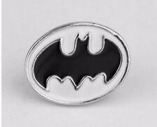 Batman Brooch 2D Silver Tone Pin Not Cufflinks Bat Man Badge Black White Hero
