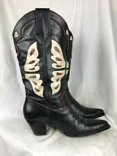 Nine West Kids 7.5B Black Leather Cowboy Boots