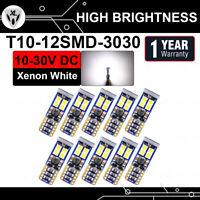 10 Pcs T10 W5W 194 12 SMD LED 3030 Chipset Cool White Light Door Courtesy Trunk