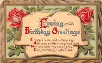 CPA - carte fantaisie - souhaits d'anniversaire - message avec des fleurs -