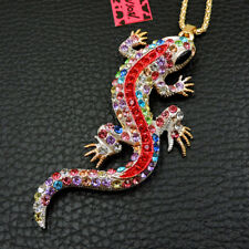 Betsey Johnson Colorful Enamel Crystal Lizard Gecko Pendant Animal Necklace Gift