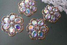 10 Gold Metal AB Clear  Rhinestone  Flower Buttons  25 mm Bridal Accessory
