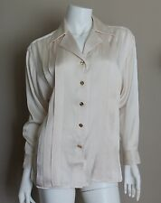 Vtg Auth CHANEL Cream Silk Long Sleeve Blouse Shirt 9 Gold CC Logo Buttons Sz 40