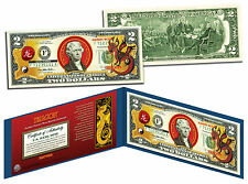 Chinese 12 Zodiac YEAR OF THE DRAGON Colorized USA $2 Dollar Bill Certified