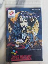 Only Manual Castlevania Vampire's Kiss PAL for SNES (Super Nintendo).
