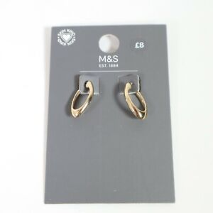 Marks and Spencer  Hoop Trend Earrings Hypoallergenic Gold Tone NEW
