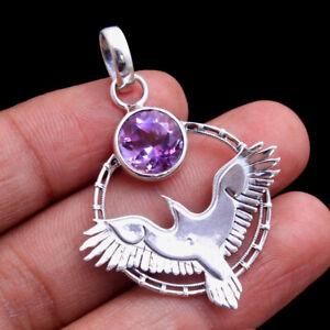 Amethyst Gemstone Solid Handmade Bird Pendant  925 sterling Silver Jewelry