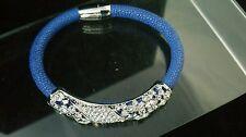"""Armband """"Blue"""" Messing Magnetschließe 19-20 cm Rochenoptik Versilbert Rhodiniert"""