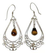 LARGE Vintage Sterling Silver & Tiger's Eye Briolette Drop Dangle Earrings