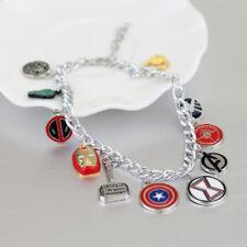 Marvel Avengers Silver Plated Charm Bracelet Hulk Deadpool Thor Iron Man Gift