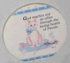 """Multicolor 3 1/2"""" Cat Mouse Sign God Reaches Out Through Friends- Magnet on Back"""