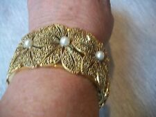 NOLAN MILLER Bracelet SIGNED Show Piece WIDE Goldtone Faux Pearl NEW Free Ship