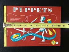 1958 Puffin Picture Book No. 112. PUPPETS. A Cut Out Book. All In Tact.