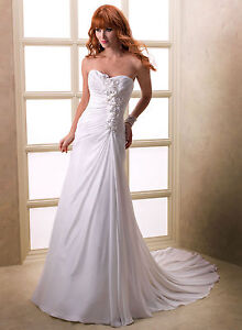 UK Stocks Flower Chiffon Wedding Dress Size 8 Size 10 Size 18