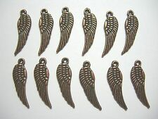 Copper Plated Wings 16mm Drops Charms (12)