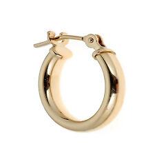 14K Solid Gold Men's Single Tubular Hoop Earring Unisex Huggy 14mm Unisex