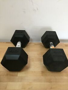 Rubber Coated Hex Dumbbells BEST PRICES 5/8/10/15/20/25/30/35/40/45 lbs Pounds