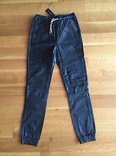 ZANEROBE Mens NEW Black Leather SURESHOT Jogger Sweatpants Pants Size 30 $599