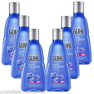 (21,09 €/L ) 6x 250ml Guhl à Long Terme Volume Shampooing Fin Cheveu Bleu Lotus