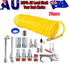 20x Air Compressor Accessory Tool Kit Coil 25ft Hose Nozzles Set Tire Gauge Kits
