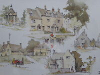 WATERCOLOUR  THE COTSWOLDS EXHIBITED ARTIST TONY HUNTER  FREE SHIPPING ENGLAND