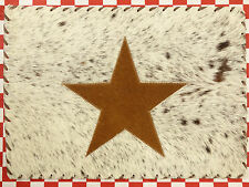 """ONE 17""""x12"""" RECTANGULAR COWHIDE LEATHER PLATE TABLE MAT HAIR ON LEATHER STAR (H)"""