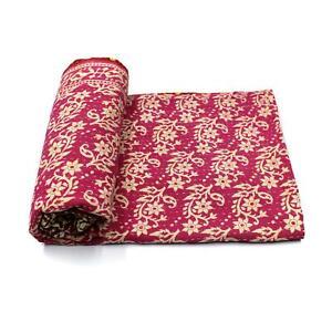 Vintage Quilt Indian Handmade Organic Cotton Bedspread Coverlet Bedding Blanket