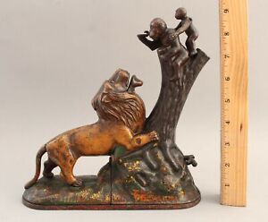Antique KYSER REX Lion & Two Monkeys Cast Iron Mechanical Bank, Double Peanut