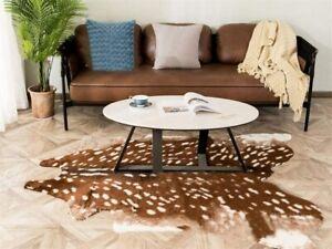 "Larger Sika Deer Print Faux Cowhide Skin Area Rug Animals Mat Carpet 59""x70.8"""