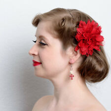Red Acrylic Cross Skull Dangle Earrings hand made pinup rockabilly pierced fishh