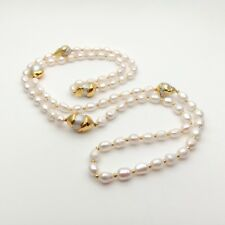 """42"""" White Baroque Pearl 24 K Gold Plated Keshi Pearl Necklace"""