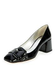 $690+ PRADA Buckle Pump Low Block Heel Black Patent Leather Shoe 36 -6