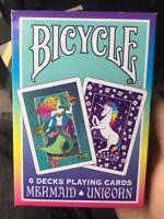 Sealed Case 6 Decks Mermaid Unicorn Rainbow 2018 Limited Edition Playing Cards