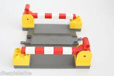 Lego Duplo Bahnübergang Eisenbahn Zug Schienen Schranke gelb