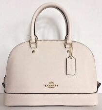 NWT Coach 57555 mini Sierra Satchel Crossgrain Leather handbag Chalk
