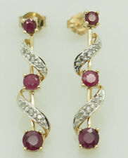 10K Yellow Gold 0.50ctw Round Natural Red Ruby w/Diamonds Accents Drop Earrings