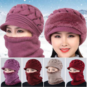 Winter Warm Female Thickening Windproof Cycling Hat Knitted Beanie Scarf Cap