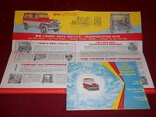 '50'S WILLYS JEEP 4-WHEEL DRIVE UTILITY WAGON ORIGINAL FOLDOUT BROCHURE, CATALOG