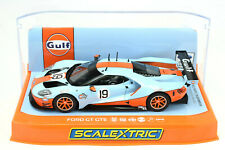 "Scalextric ""Gulf"" Ford GT GTE DPR W/ Lights 1/32 Scale Slot Car C4034"