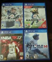 Lot of 4 PS4 Sports Games NBA2K17, MLB 14 SHOW, MADDEN 15 ULTIMATE EDITION, 17