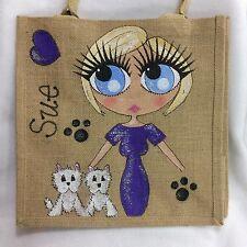 Personalised Handpainted Jute Bag Westie West Highland White Dog Lovers Handbag
